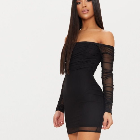75dbcb7562e PrettyLittleThing Dresses | Black Ruched Mesh Bardot Bodycon Dress ...